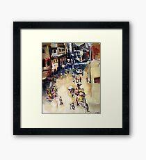 Old city marketplace Framed Print