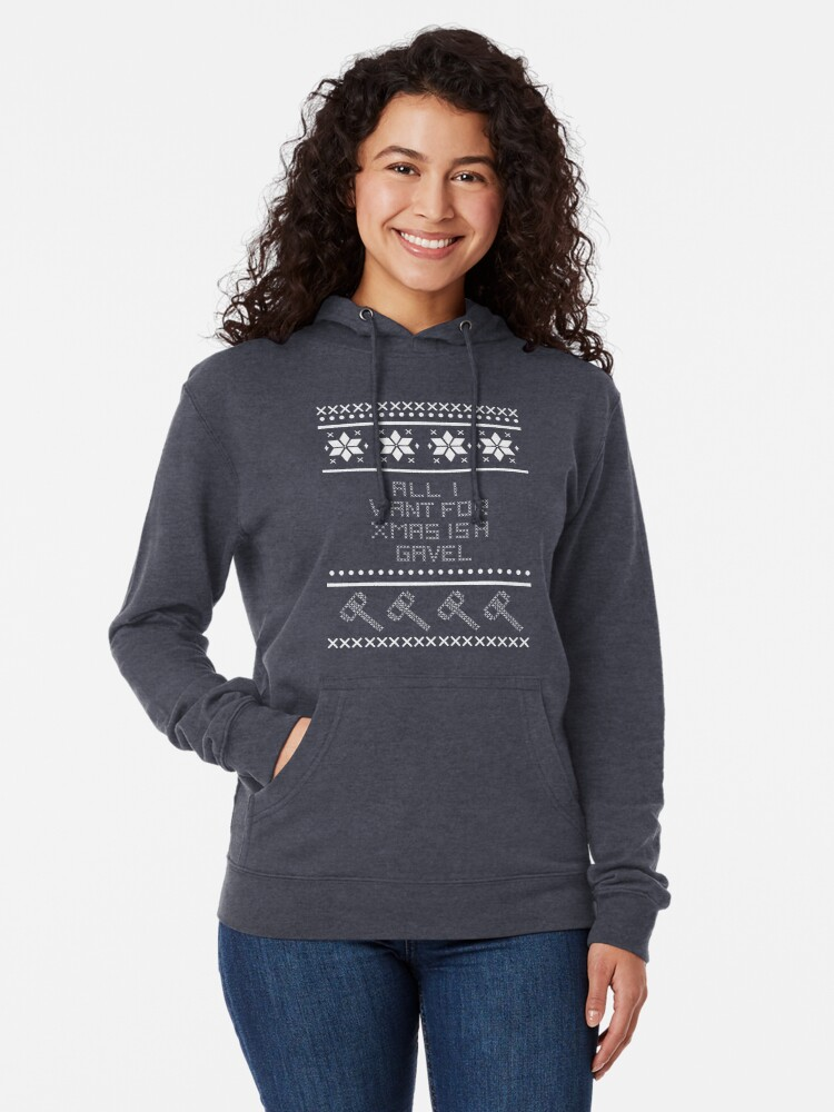 Alternate view of All I Want for Christmas is a Gavel Lightweight Hoodie