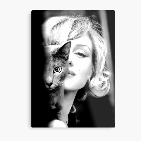 Marilyn Monroe with Cat, Vintage Black and White Photograph Metal Print