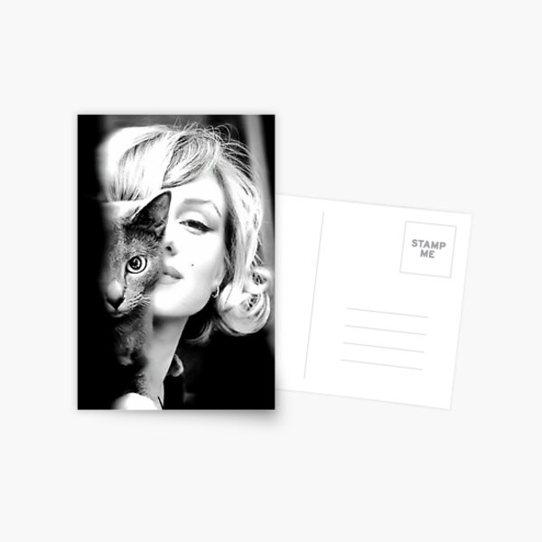 Marilyn Monroe with Cat, Vintage Black and White Photograph Postcard