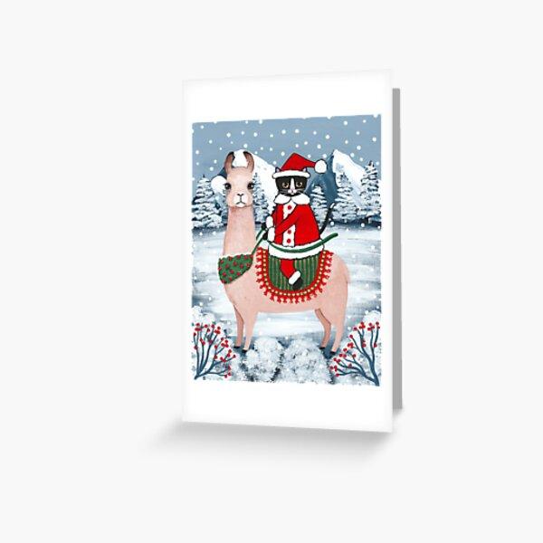 Santa Claws Cat and Llama Greeting Card