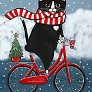 Tuxedo Cat Winter Bicycle Ride by Ryan Conners