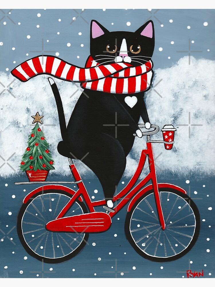 Tuxedo Cat Winter Bicycle Ride by kilkennycat