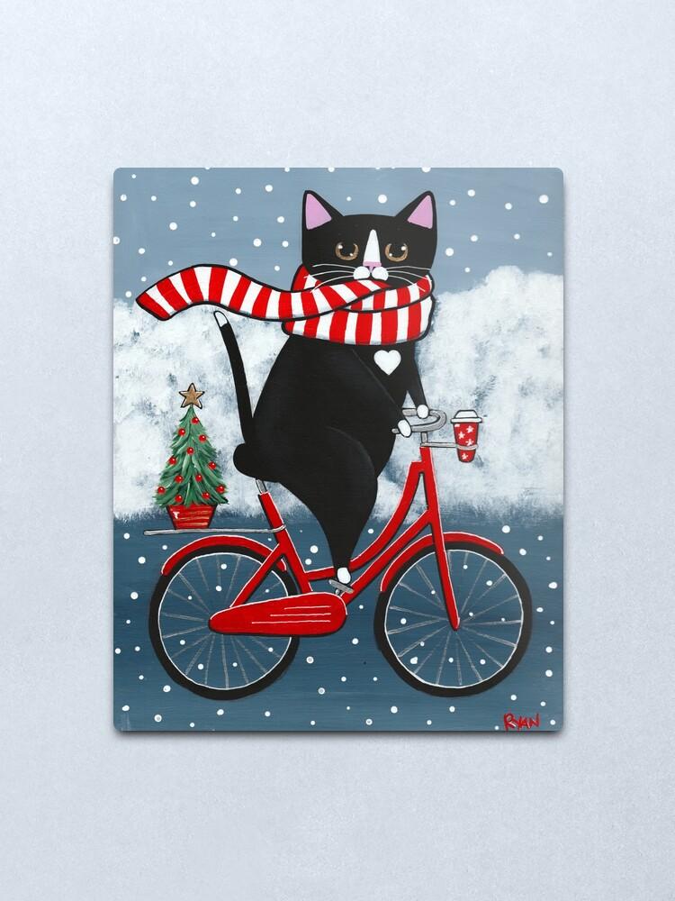 Alternate view of Tuxedo Cat Winter Bicycle Ride Metal Print