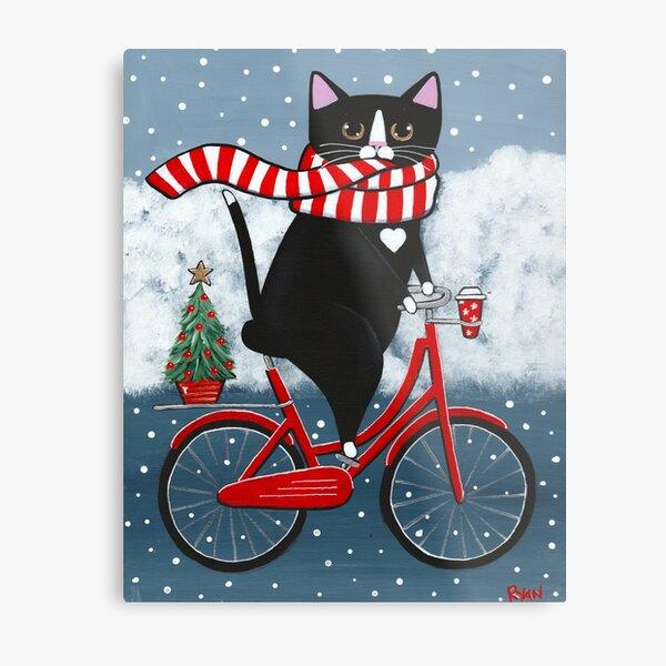 Tuxedo Cat Winter Bicycle Ride Metal Print