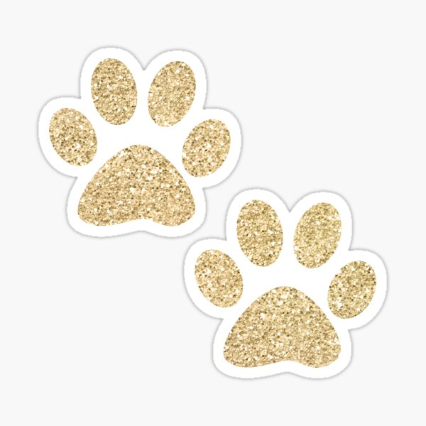 Gold Paw Prints on Marble Sticker