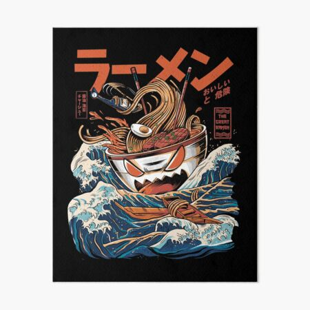 The black Great Ramen Art Board Print
