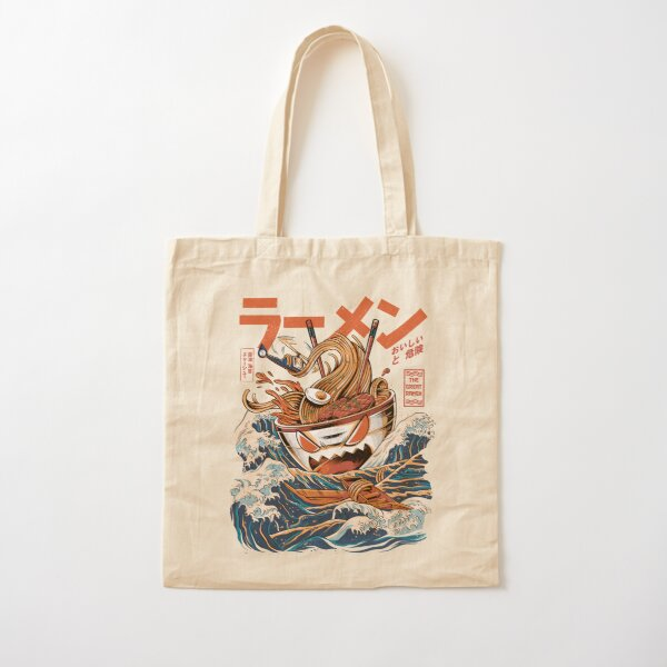 The black Great Ramen Cotton Tote Bag
