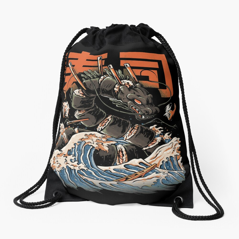 The Black Sushi Dragon Drawstring Bag