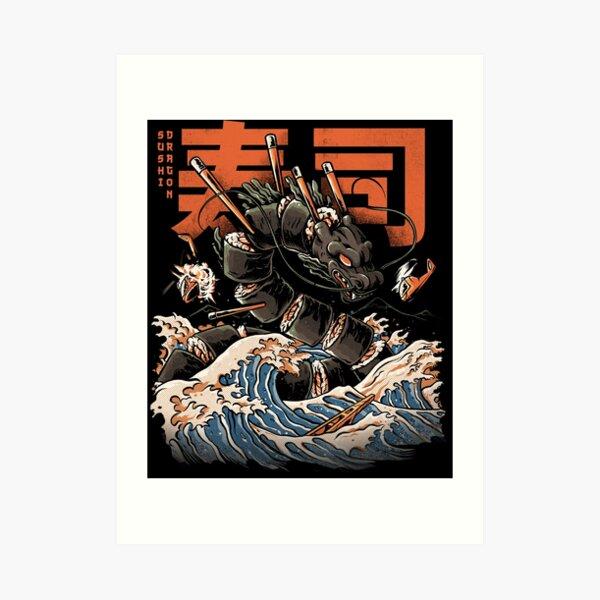The Black Sushi Dragon Art Print