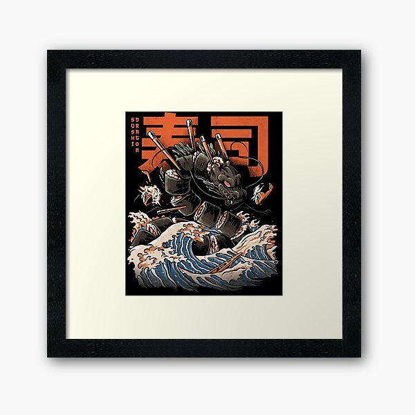 The Black Sushi Dragon Framed Art Print