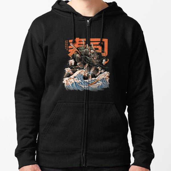 The Black Sushi Dragon Zipped Hoodie