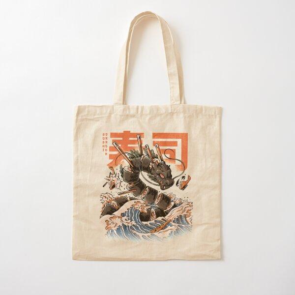 The Black Sushi Dragon Cotton Tote Bag