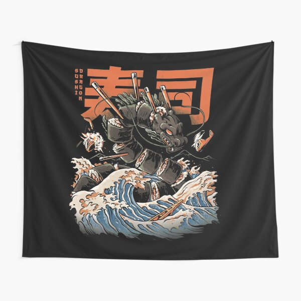 The Black Sushi Dragon Tapestry