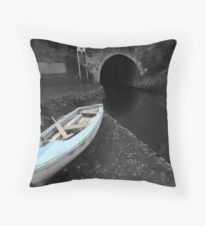 Bruce Tunnel and Little Blue Boat Throw Pillow