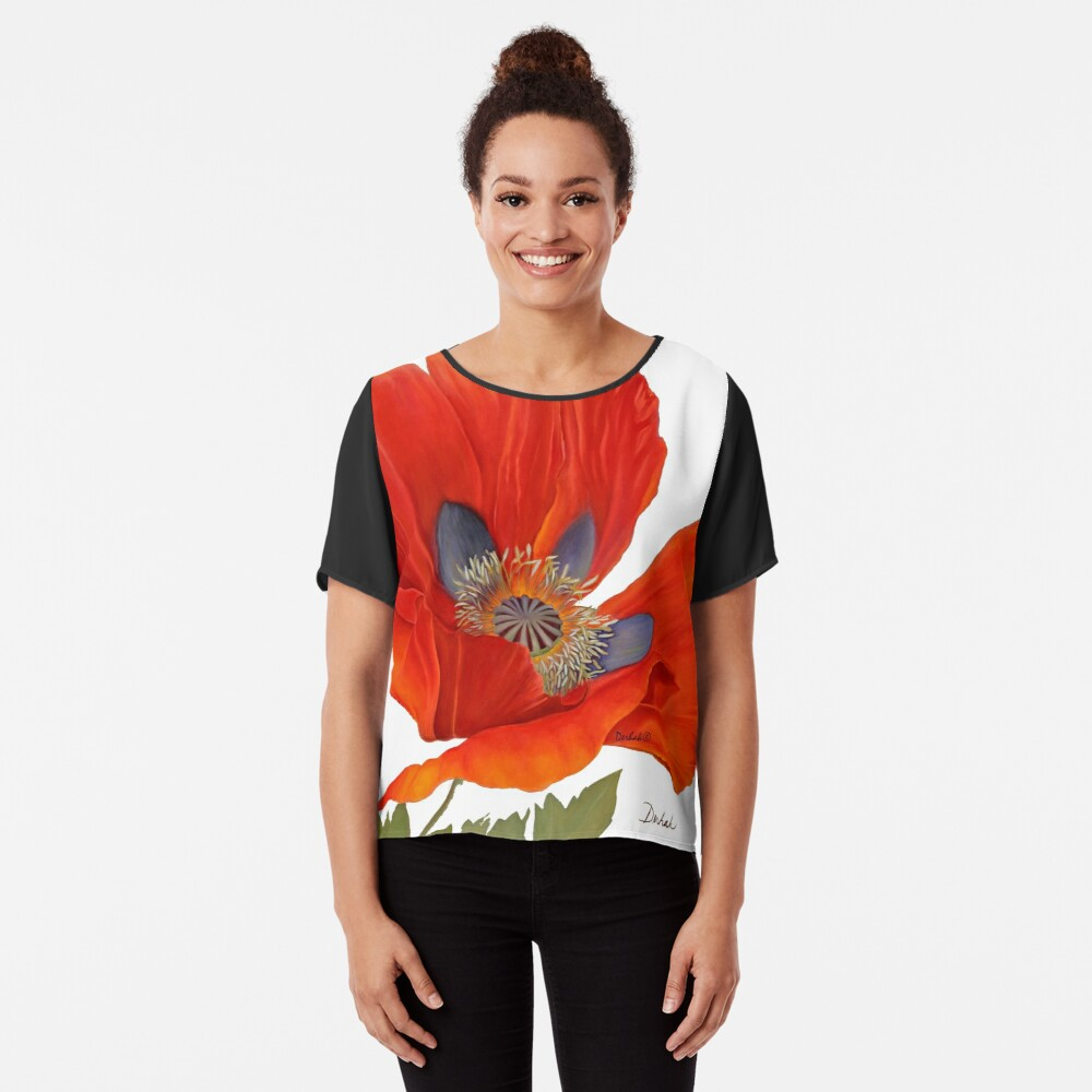 Orange Poppy By Dianna Derhak Chiffon Top