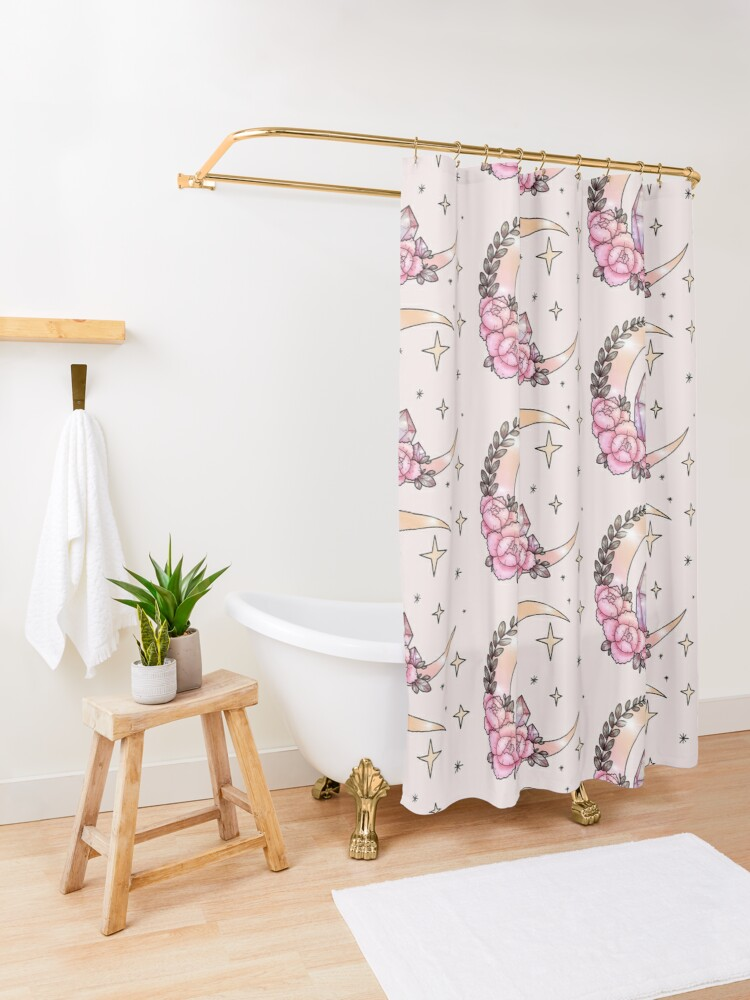 Alternate view of Moon & Crystals Shower Curtain