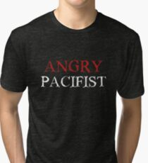 Angry Pacifist - Red And White Ink Tri-blend T-Shirt