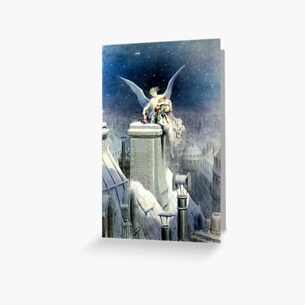 Christmas Eve - Gustave Dore Angel on snowy chimney Greeting Card