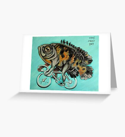 Oscar On A Bicycle Greeting Card