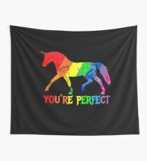 Rainbow Flag - Magical Unicorn - You're perfect! - faith and truth Wall Tapestry
