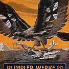 German Eagle vanquishing an Enemy Bi-plane..WWI by edsimoneit