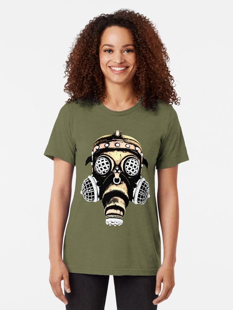 Alternate view of Steampunk / Cyberpunk Gas Mask #1B Steampunk T-Shirts Tri-blend T-Shirt