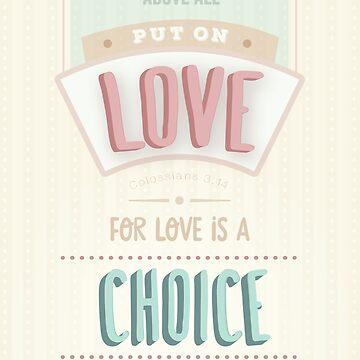 Moderne helle Creme, rosa, blaues Design, Bibel Bibel Vers Kolosser 3 Vers 14 'vor allem Liebe anziehen'. Liebe ist eine Wahl. von TheFinerThemes