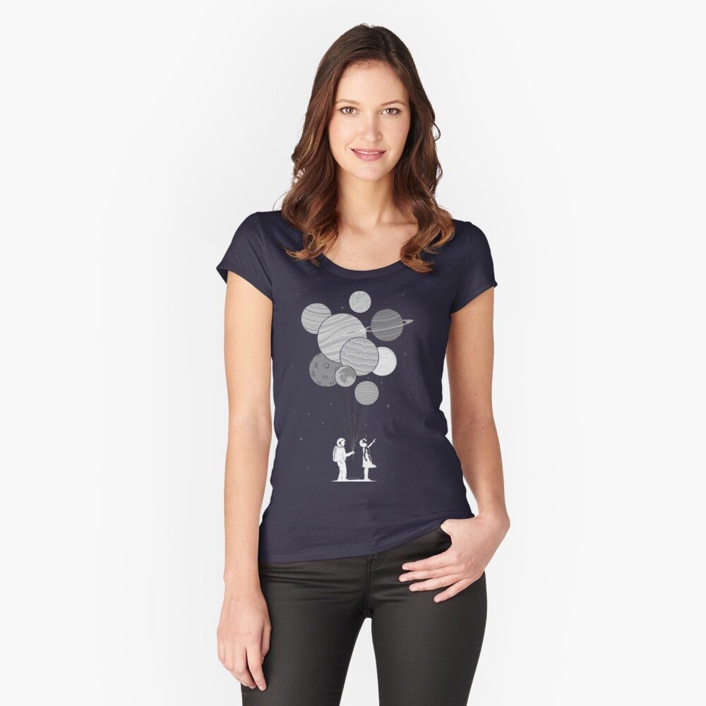 Between planets and balloons. Women's Fitted Scoop T-Shirt Front