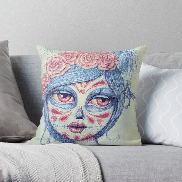 Sugar Skull Girl 3 of 3 Throw Pillow