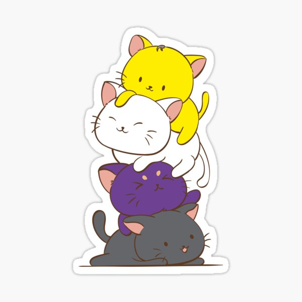 Non binary Pride Flag Kawaii Cat Tower Sticker