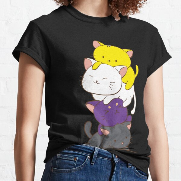 Non binary Pride Flag Kawaii Cat Tower Classic T-Shirt