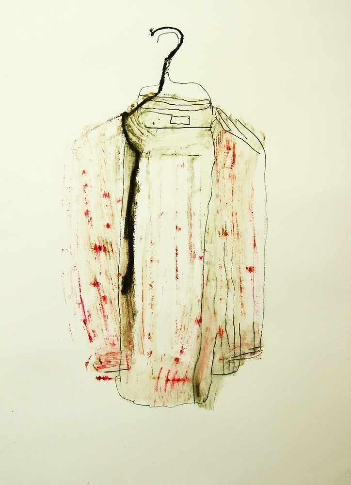 striped shirt with ripped collar by donna malone