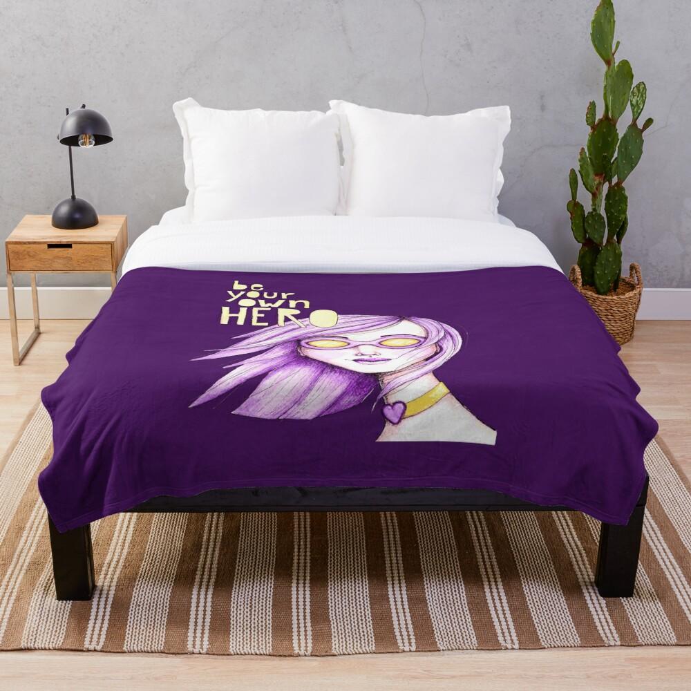 Be Your Own Hero - Purple Version Throw Blanket