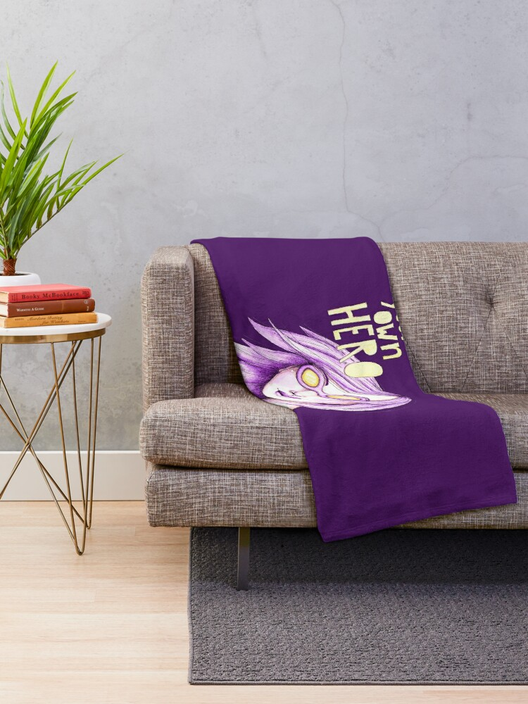Alternate view of Be Your Own Hero - Purple Version Throw Blanket