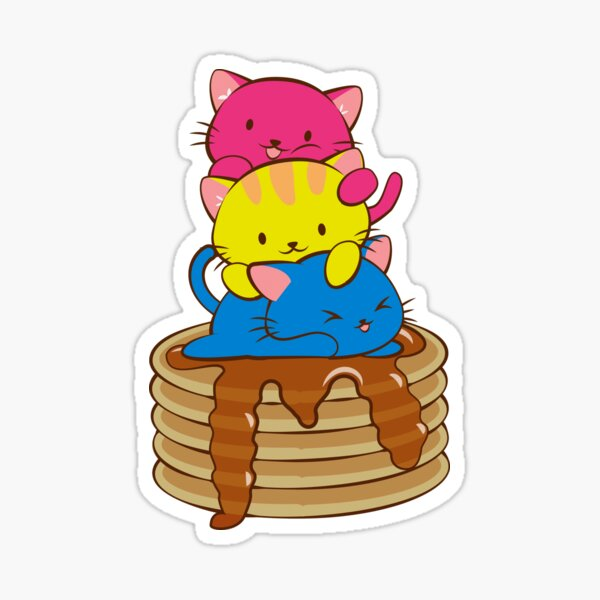 Pansexual Pride Flag Kawaii Cats on Pancakes Sticker