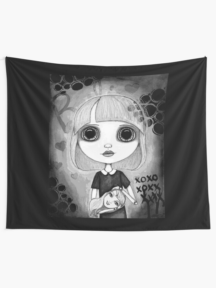 Alternate view of Number One Fan (Black & White Version) Tapestry