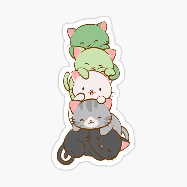 Aromantic Pride Flag Kawaii Cat Tower Sticker