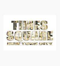 Times Square New York City (golden glow on white) Photographic Print