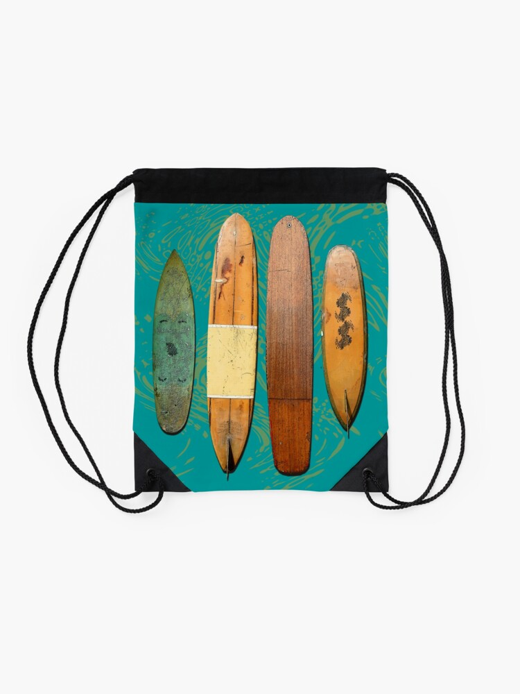 Alternate view of Old Surf Boards for Old Hippies, vintage, retro. Drawstring Bag