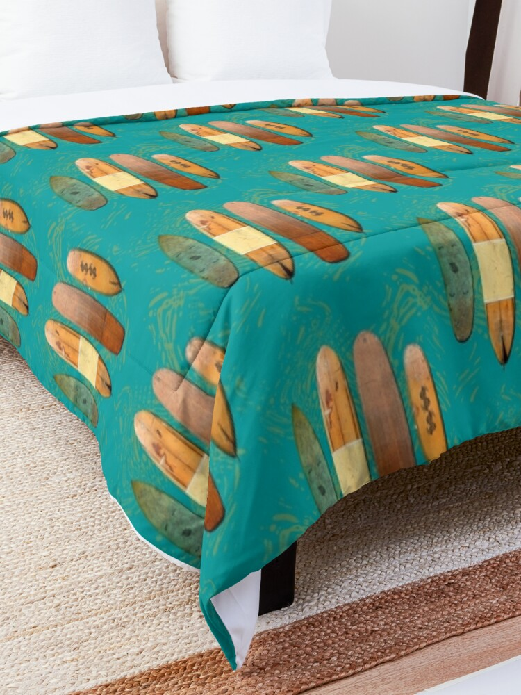 Alternate view of Old Surf Boards for Old Hippies, vintage, retro. Comforter