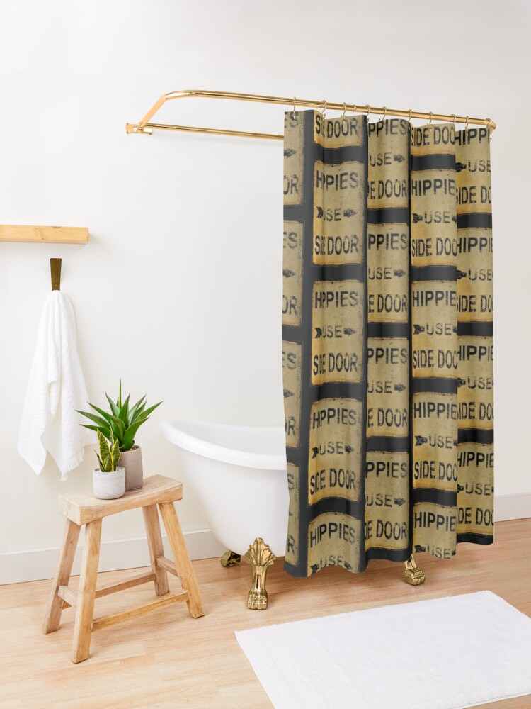 Alternate view of Hippies Use Side Door, Old Signage, Retro England. Shower Curtain