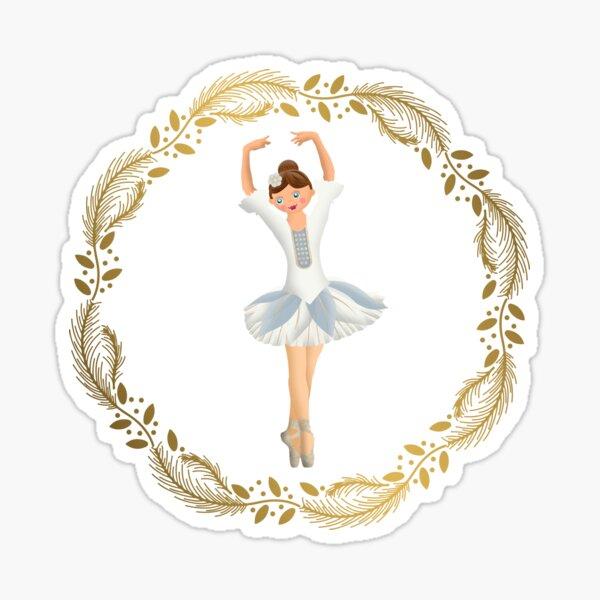 The Nutcracker Christmas Special - Nutcracker Scene - Ballerina dance in Golden Christmas Wreath Sticker