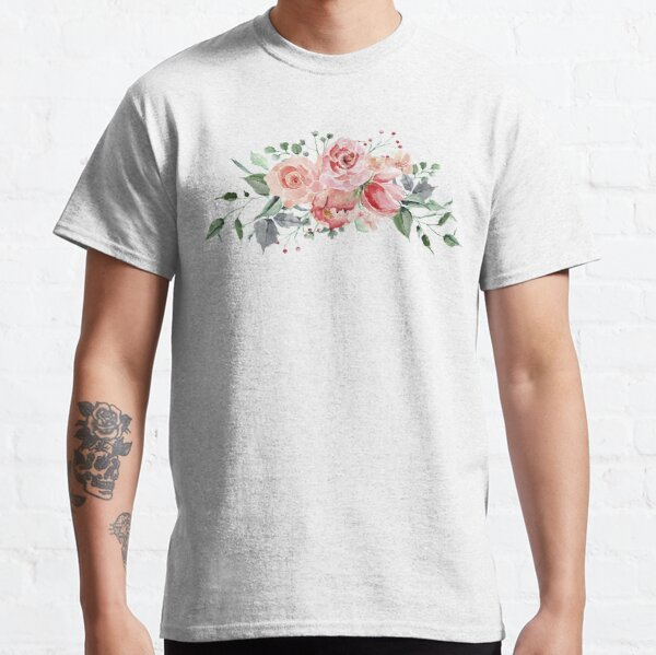 Pink Roses Watercolor Bouquet Classic T-Shirt