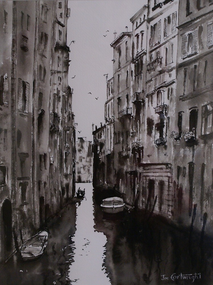 Venice Canal - Pen and Ink and Wash by Joe Cartwright