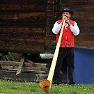 alpine horn blower by neil harrison