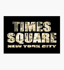 Times Square New York City (golden glow on black) Photographic Print