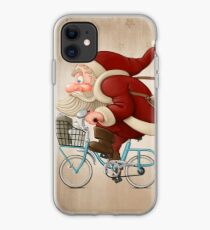 Santa Claus rides a bicycle iPhone Case