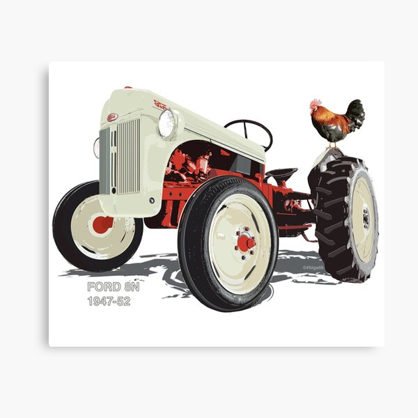 Old Redbelly, the Ford 8N – with Barney the 'Rooster' Canvas Print