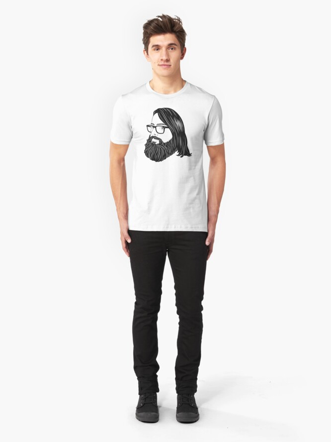 Alternate view of Bearded bisexual bear - black lines Slim Fit T-Shirt